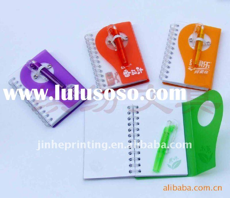 many kinds of pp cover spiral notebook with pen
