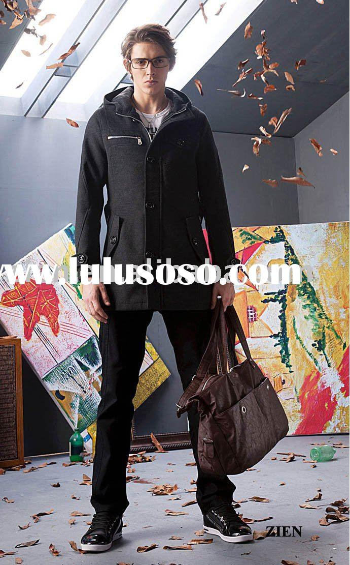 men's hooded zipper duster coat