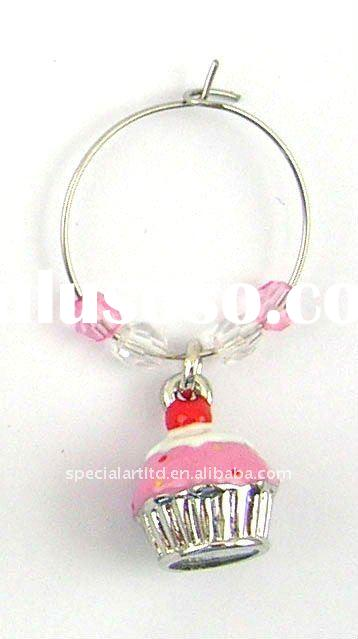 metal alloy cupcake wine glass pendant, OEM Orders are Welcome