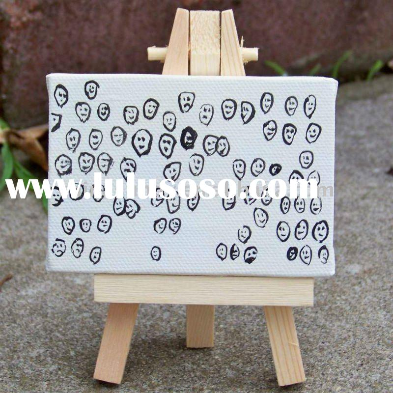 mini wooden easel & art canvas set