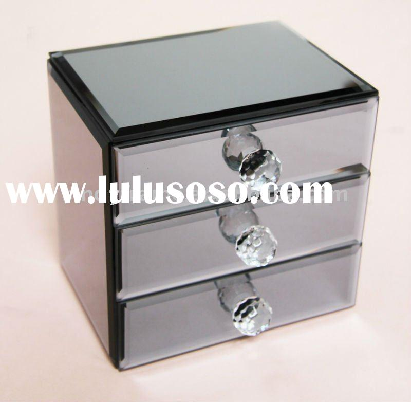 Mirror Glass Jewelry Box With 3 Drawers Blue Color Exclusive Design For 2017