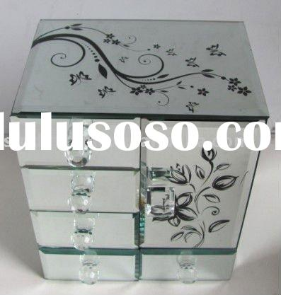 mirror jewelry box with large size,black butterfly,photo frame