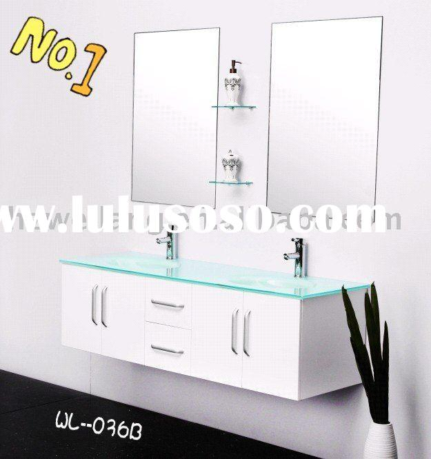 oak bathroom vanity set with green tempered glass sink