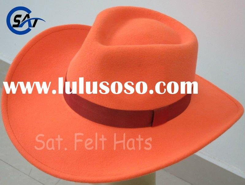 orange 100% wool felt cowboy hat