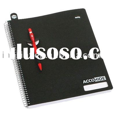 plastic spiral notebook with pen(pp cover notebook,wire bound notebooks)