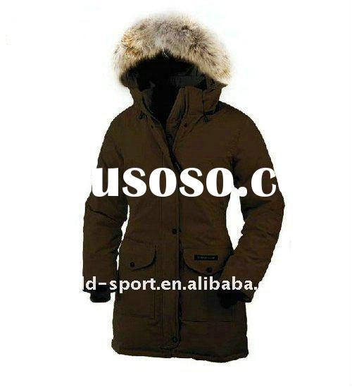popular lady goose down coat /jacket --brown