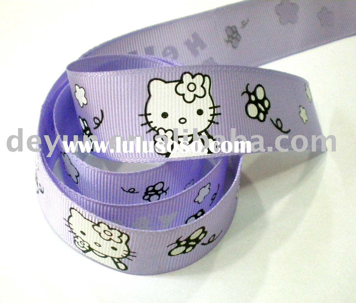 printed grosgrain cartoon ribbon ; hello kitty satin ribbon