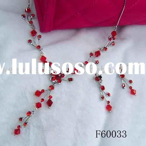 red crystal wedding jewelry set