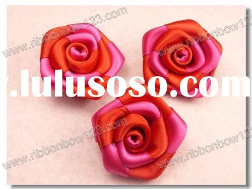 satin ribbon flowers for party decoration