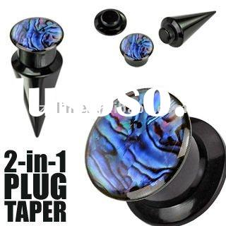 screw fit plug and taper set - colorful abalone piercing body jewelry