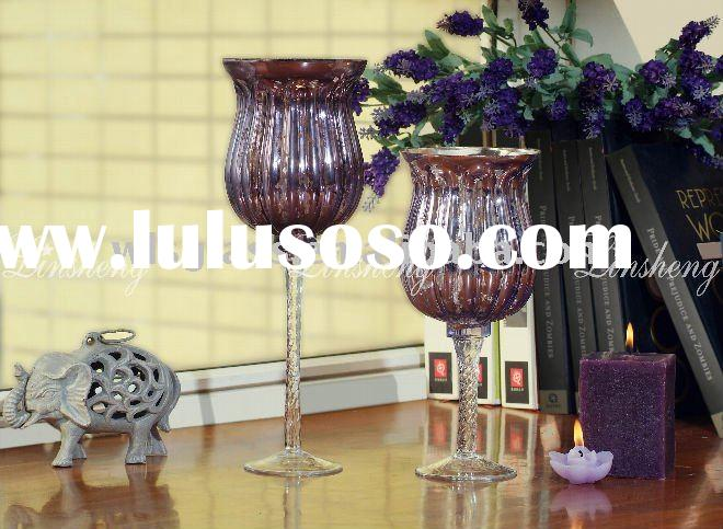 sparyed purple color glass candle holder wholesale with twisted stem