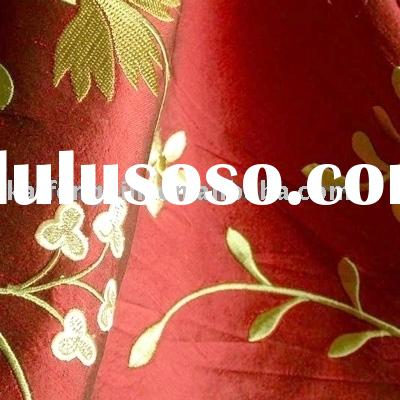 the embroidered yarn-dyed douppion silk fabric-3-1