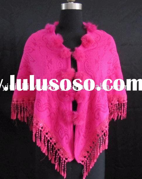 yinishi fuchsia faux fur bridal stole/ shawl/ wrap/ cape /coat M8