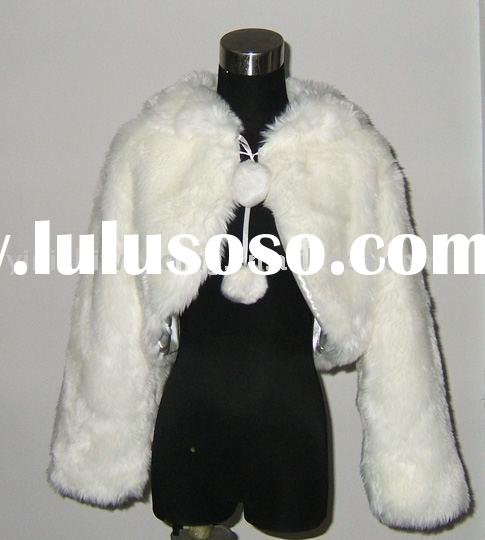 yinishi white faux fur bridal stole/ shawl/ wrap/ cape /coat FS054