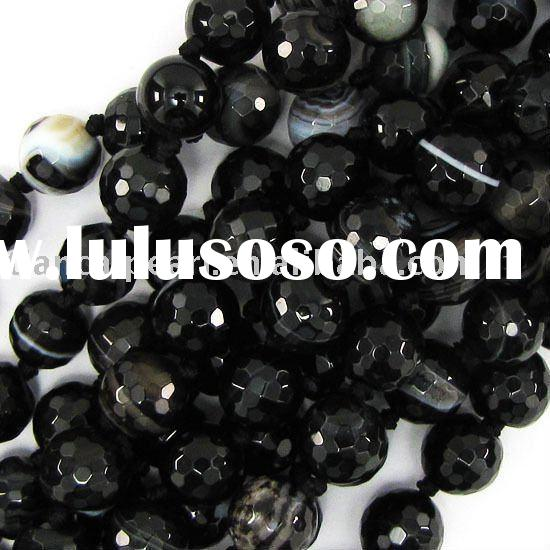 10mm faceted black stripe agate round beads 16''L/strand Natural Stone Beads Gemston