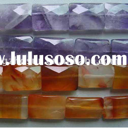 "16"" 10x14mm gemstone beads faceted rectangle amethyst and carnelian"
