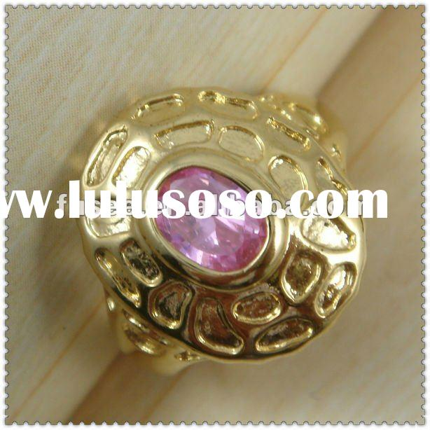 18K gold plated gemstone ring