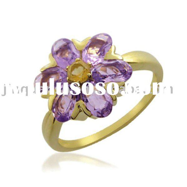 18k Gold Jewelry Plated 925 Stamped Sterling Silver Ring with Natural Gemstones(JQR-S5038)