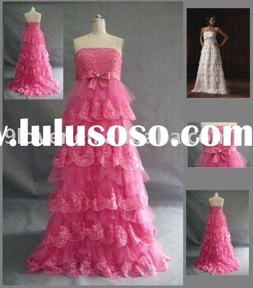 2010 Hot Pink Lace 047 Maternity Wedding Dress