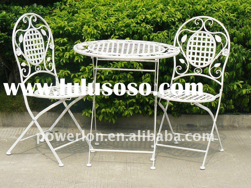 2011 New 3PCS foldable metal patio garden furniture with one table and two chairs