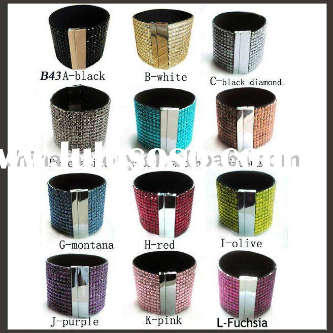 2011 fashion jewelers cheap rhinestone magnetic leather bracelet