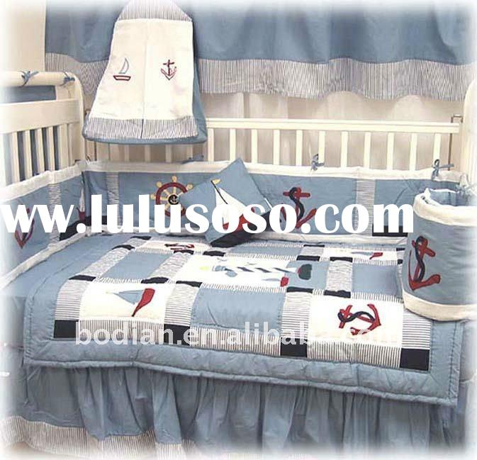 2011 hot sale embroidered crib baby bedding set