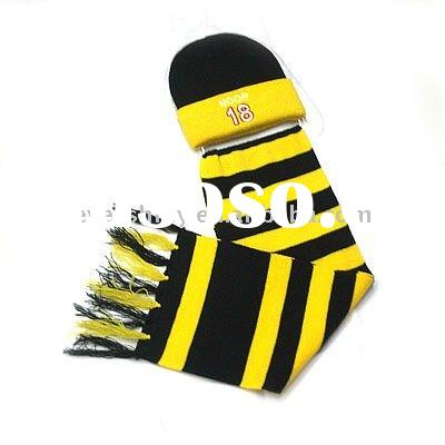 2011 latest hot sell woman winter yellow gloves hat and scarf set