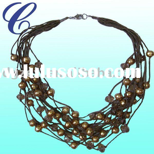 2011 new fashion beaded jewelry of artificial pearl necklace