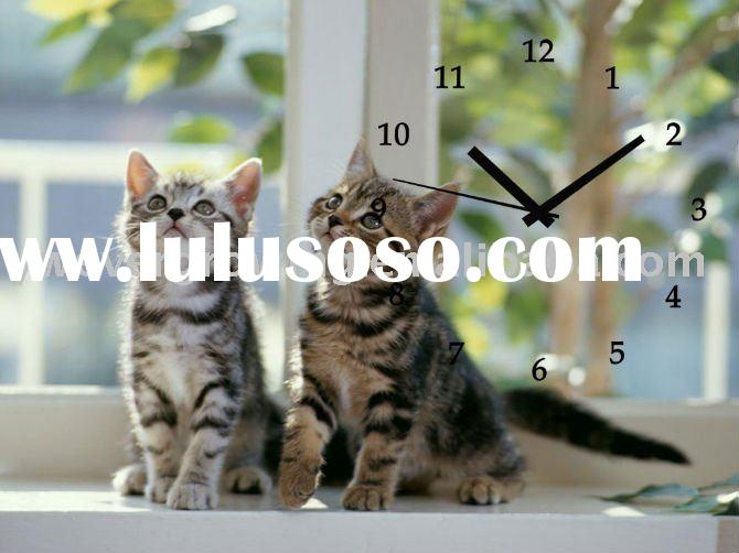 2011new Design decorative Wall Clock with cat picture