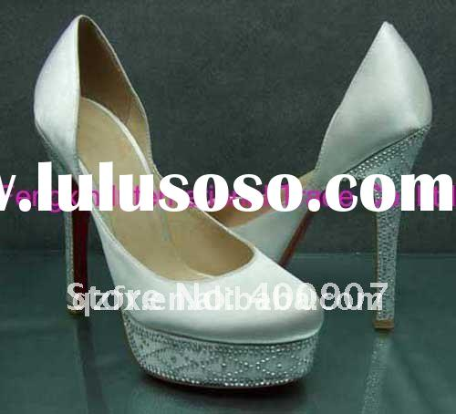 2012 New spring high heel wedding shoes, white crystal bridal party shoes