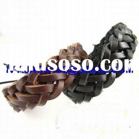 2012 fashion brown make braided black brown leather bracelet new