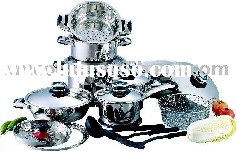 25pcs 18/8 surgical stainless steel cookware set