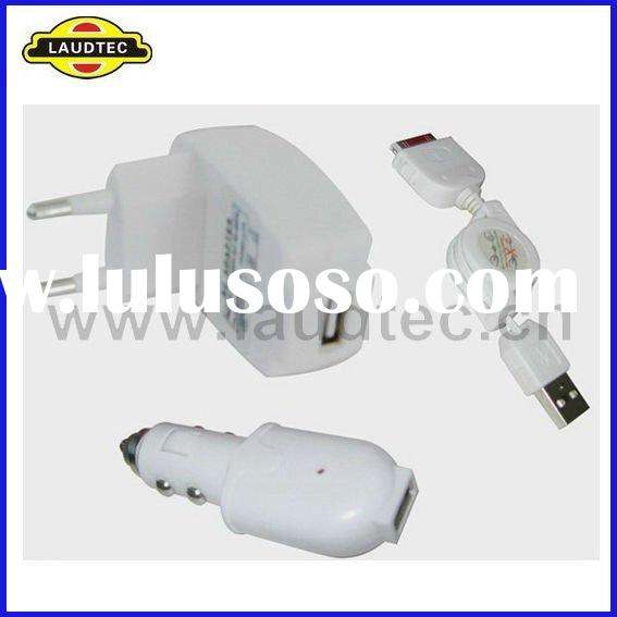 3 in 1 USB Travel Charger + USB Car Charger + USB Cable for iPad High Quality