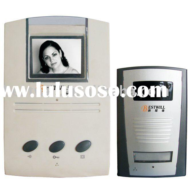 "4"" B/W video door phone hands free intercom build in memory"