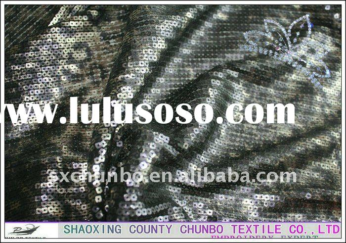 4mm squarely sequin with 100%polyester black mesh fabric leopard print spangle embroidery fabric