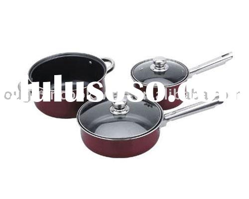 5PCS iron non-stick pink cookware set with ss handle
