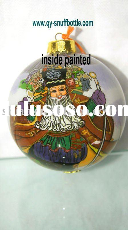 9 cm Christmas product of glass ball with cartoon picture inside painted hanging on xmas tree better