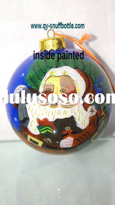 9 cm glass ball for Christmas decoration with cartoon picture inside painted better price