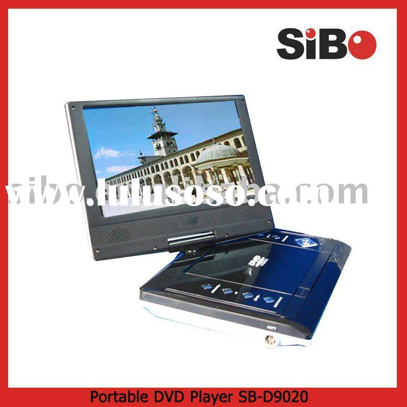 "9"" portable dvd player+lithium battery+usb port+memory card reader"