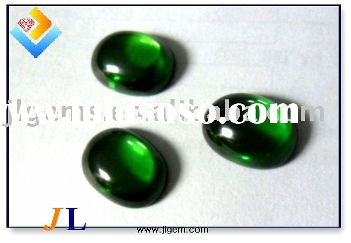 AAA Emerald Green Oval Shape Cabochon Cubic Zirconia Stone