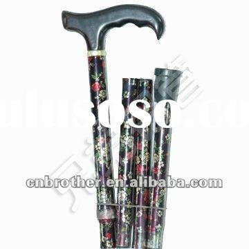 Aluminum folding and floral walking stick