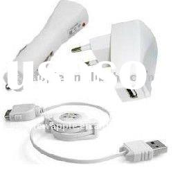 Apple iPhone USB Travel Kit for 4G 4S 16 32 GB Car Charger+Travel Adapter+Cable
