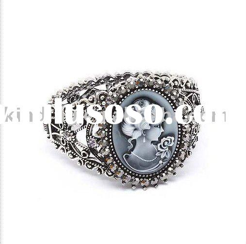 Beautiful Vintage Style Black Cameo Lady and Crystals Wide Cuff Bangle Bracelet Fashion Jewelry- JBS