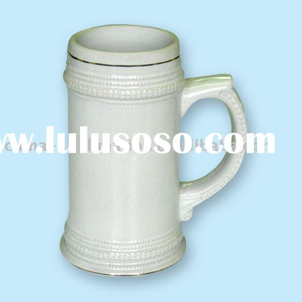 Beer Mug / 22oz German Beer Stein / Sublimation / Photo Mug / Coated Mug / Gold Belt