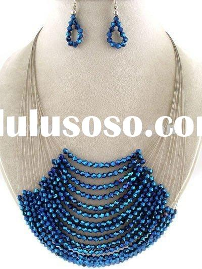CHUNKY BLUE ACRYLIC SILVER STATEMENT BIB NECKLACE SET