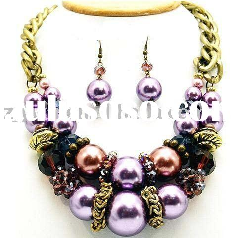 CHUNKY PURPLE PEARL CRYSTAL NECKLACE SET COSTUME JEWELRY