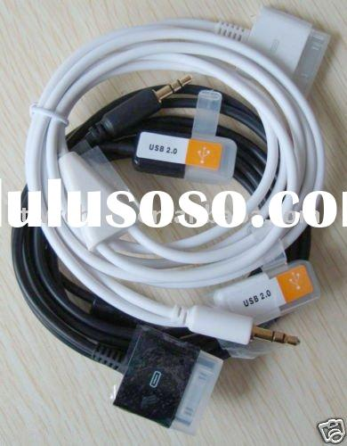 Car AUX Charger USB Data Cable For iPhone 4g touch 4