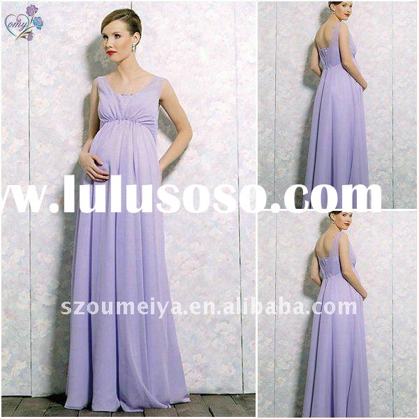 Chiffon Maternity Evening Dresses with Short Sleeve