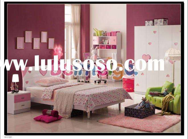 Children's Bedroom Furniture Sets of Glossy Style (Bed/Wardrobe/Bedside Table/Desk/Chair/Han