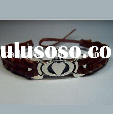 Celtic Triquetra Knots Leather Bracelet with Adjustable Cord